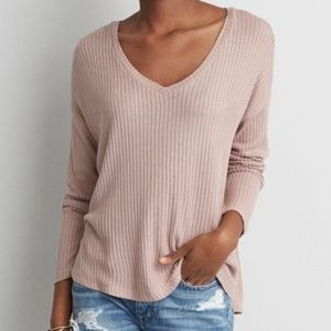 AEO Drop Shoulder Rib Sweater